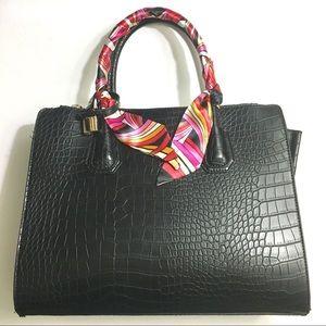 Handbags - Croc Style Structured Top Handle Bag